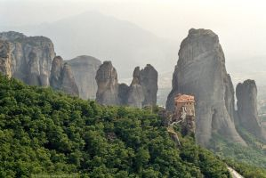 Meteora Monastery Misty Morning by bobswin