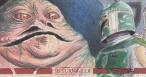 Star Wars ROTJ - Jabba-Boba Fett Sketch Art Card by DenaeFrazierStudios