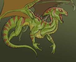 sketch flying reptile with some colour by KatrineTindlund