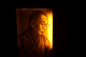 tape art of Dalai Lama by Layer-tape