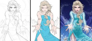 Queen Elsa Process by wayner8088