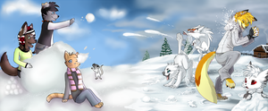 Snowball fight! by Skeleion