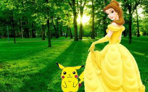 Belle and Pikachu by Mommy-of-Ein