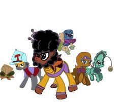 The Justice Guys and 1 Gal As Ponies by CartoonAnimes4Ever