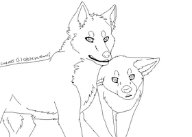 Two Wolves Lineart by opaleyedwolf
