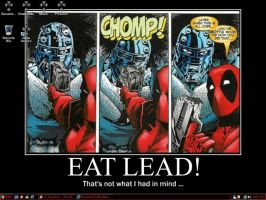 Eat Lead - Deadpool Desktop by MiserysLastWhim