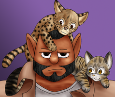 Kittens On My Head by Digoraccoon