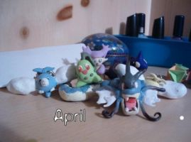 Chikorita Sculpey and others by black-yoshi