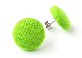 Small stud earrings bright green lime chartreuse by KooKooCraft
