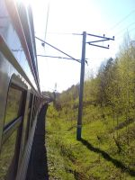 Between cars of electric train ED4M-0009 by TR4Y