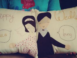 Wedding pillow by Heppie Yippie by heppieyippie