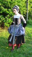 Grey Tudor Gown and Hood4 by CenturiesSewing