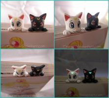 Sailor Moon Luna Artemis Glow in the Dark Bookmark by Tsurera