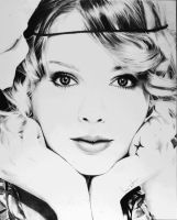 Taylor Swift minimalistic pencil drawing by Arvyfex