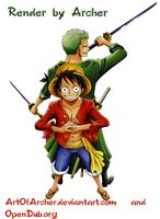 Luffy and  Zoro Render by ArtOfArcher