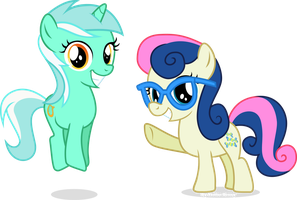 Filly Lyra and Bonbon by Vector-Brony