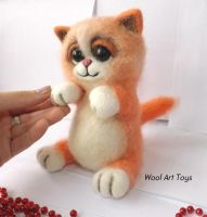 Needle felted ginger cat by WoolArtToys