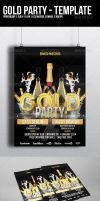 Gold Party Flyer Template by madalincmc