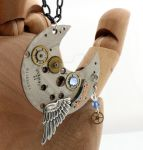 Steampunk Crescent Pendant by Xerces