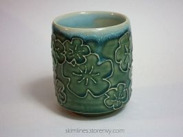 Celadon Blossoms Tea Cup with Light Celadon interi by skimlines