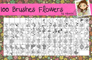 100 Brushes Flowers by alenet21tutos