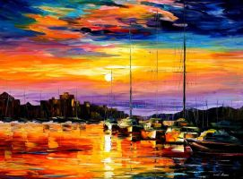 Sicily - Messina by Leonid Afremov by Leonidafremov