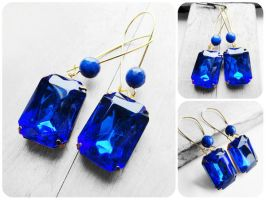 Large Octagon Sapphire Glass Stone Gold Earrings by crystaland