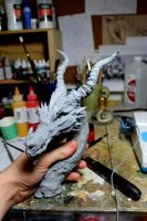 Horned Dragon WIP 2 by RavendarkCreations