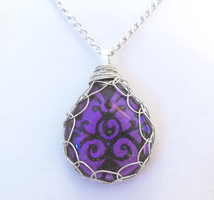 Purple Damask Teardrop Pendant by HoneyCatJewelry