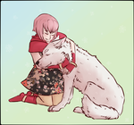 a flower and a wolf by Queash
