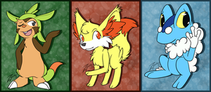 Pokemon . Gen Six Starters by Hawkein