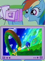 Rainbow dash likes sonic lost world. by brandonale