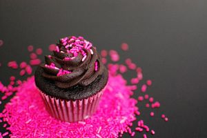 Chocolate cupcake with Pink Sprinkles by puppiferrero