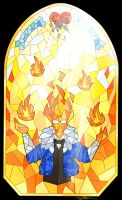 Stained glass Grillby by Tarulimint