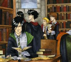 Marauders in the Library by satsukei