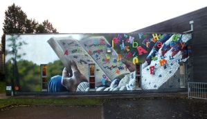bonnybridge library mural. by akarogue-one