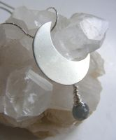 Moon Necklace w Smoky Quartz by MoonLitCreations