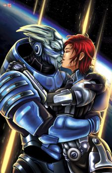 Mass Effect - Femshep/Garrus by TyrineCarver