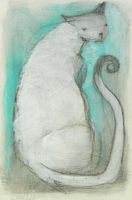 White Cat Curled Tail by SethFitts