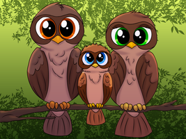 Owl Family - Commission by JessiRenee
