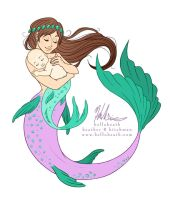 Mama Mermaid Tattoo Design by helloheath