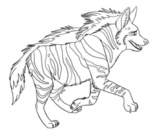 Line Art: Striped Hyena by Greykitty