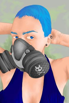 Girl Gas Mask by juganue