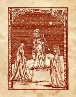 Three Witches' Woodcut by Charmed-BOS