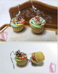 Rainbow Cupcake Earrings Polymer Clay by Talty