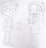 Dipper And Mabel by 0L1V3