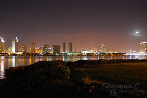San Diego skyline at night with moon by ShannonCPhotography