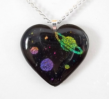 I Heart Space Glass Pendant by poisons-sanity