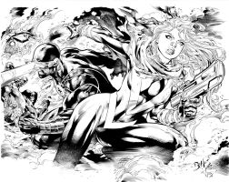 pin up x men 02 utopia by Ed Benes inks me by LuisPuig