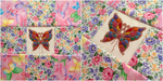 Quilted, Xstitched, Beaded Butterfly Pillow by pinkythepink